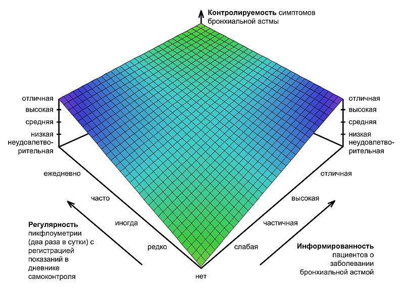 Москатов Е А Курсовая работа Современные методы диагностики  Зависимость контролируемости симптомов бронхиальной астмы от информированности пациентов о заболевании и регулярности пикфлоуметрии с регистрацией показаний